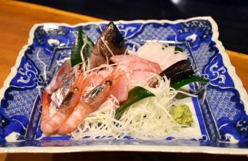 Fresh seafood and sashimi in Sado island