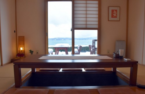 The Japanese-style room at this cafe in Sado island