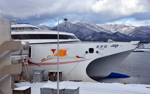 The ferry that goes between Niigata Port and Ryotsu Port on Sado Island