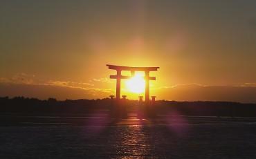 A big torii in lake hamana-ko