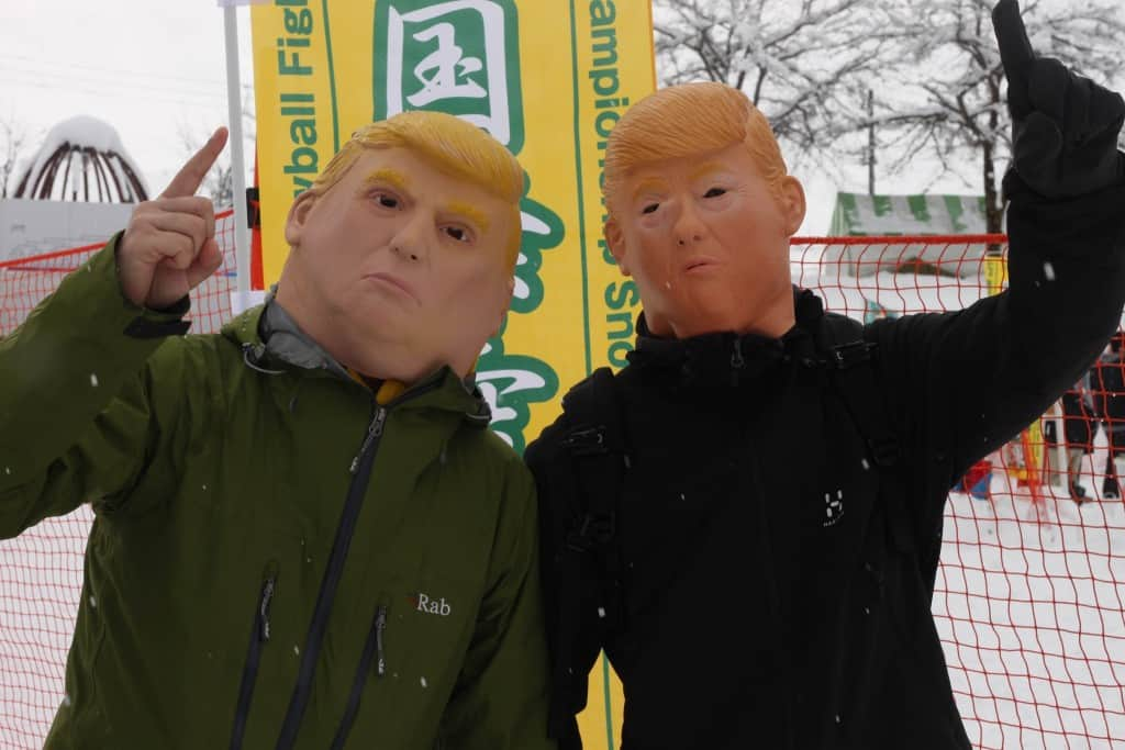 Donald trump players at Koide international snowball fight