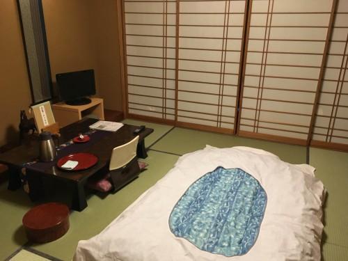a Japanese style tatami room at Murakami-ya ryokan
