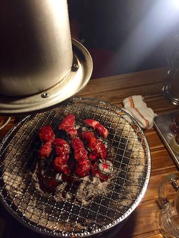 japanese bbq restaurant fresh meat on grill