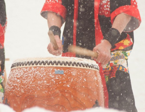 Wadaiko performance in snow