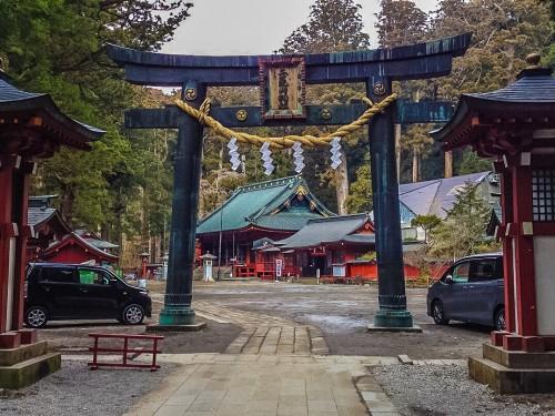 The intricate torii gate to Futarasan