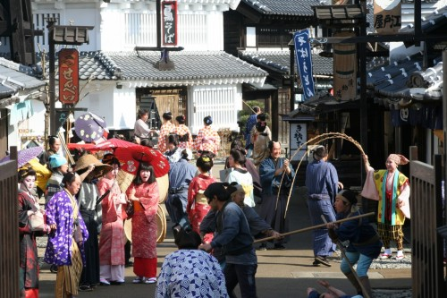 people dressed up at edo wonderland in nikko