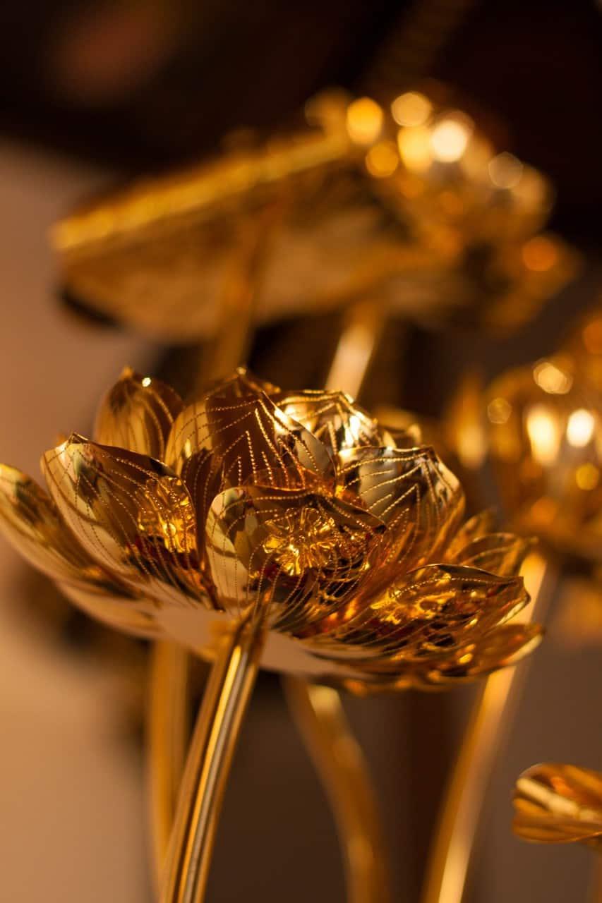 A golden lotus flower status at Soto Zen Kanshuji Temple.