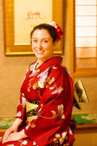 Japanese traditional experience, wearing kimono