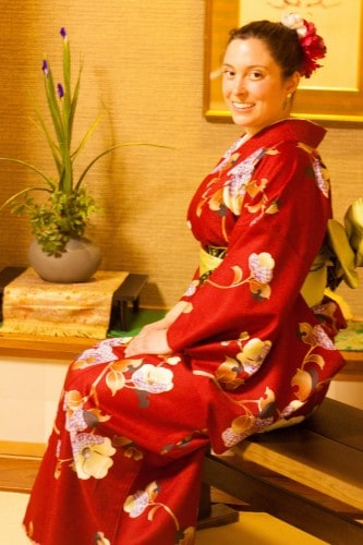 Red kimono and yellow Obi