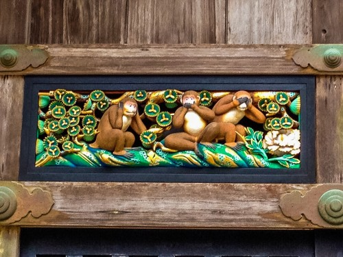 """Three Monkeys"" artwork in Nikko Toshogu"