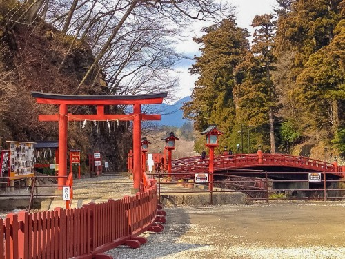 Shinkyo Bridge and torii entrance in Nikko