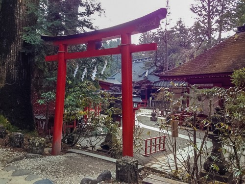 Beautiful red torii gate in Nikko