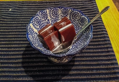 Kaiseki dessert made of red bean jello.