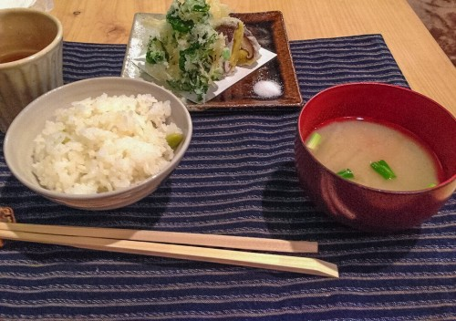 Miso soup, Tempura, and Rice.