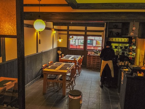 Nagomi's interior, a well known restaurant serving Yuba and kaiseki.