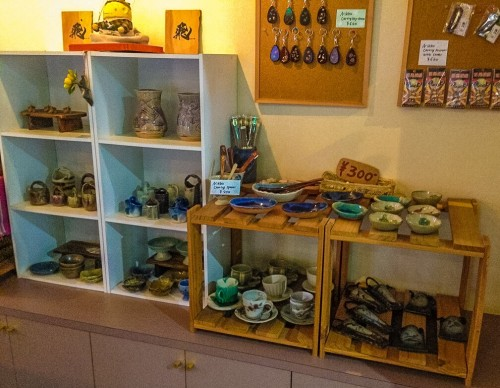 Local ceramics are displayed at this B&B