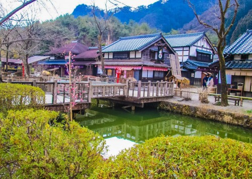 replica edo town, water and buildings in Nikko