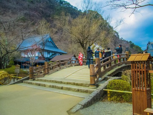 beautiful bridge at Edo Wonderland in Nikko