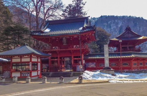 The buddhist Tachiki temple, lightly snowcapped.