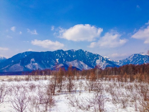 The Senjogahara marshlands in Nikko, covered in snow