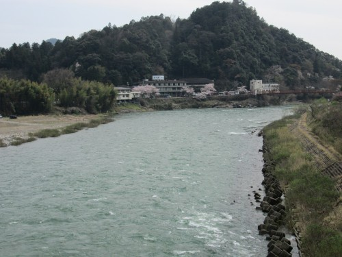 Nagara river view from the bridge, Mino city, Gifu prefecture