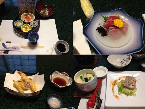 A Cross-section of Foodie-Heaven: Fresh squid with various salads, Sashimi, Tempura, and Chawanmushi