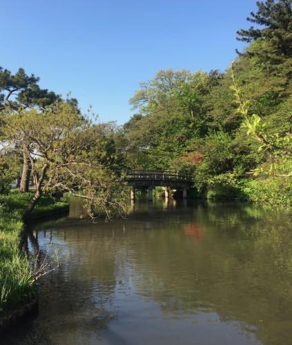 The bridge over the pond at Sankeien Japanese Garden