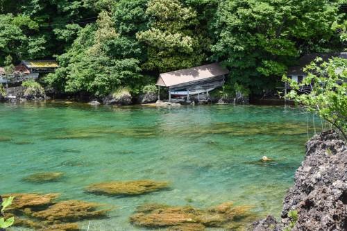 The water is turquoise at Ogi town beach, Sado island, Niigata, Japan