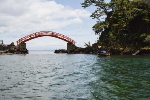 The red bridge connects between Yashima and Kyoshima to Ogi on Sado island, Niigata, Japan.