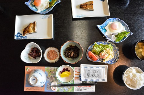 Breakfast which was offered by Minshuku Takimoto on Sado island, Niigata, Japan