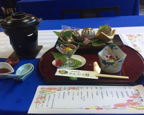 Japanese food at the ryokan in Takayu onsen,Fukushima, Japan.