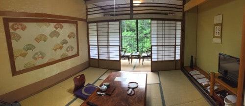 The tatami room at the ryokan in Takayu onsen,Fukushima, Japan.