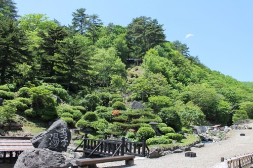 Scenery at Tamago-yu onsen . Can You See the Shinto Shrine?