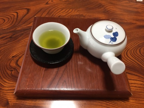 Served Japanese tea at the ryokan in Takayu onsen,Fukushima, Japan.