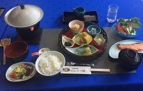 Kaiseki meal at the ryokan in Takayu onsen, Fukushima, Japan.