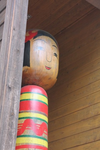 The 9-ft Tall Kokeshi Kyodai at Tsuchiyu onsen village, Fukushima, Japan