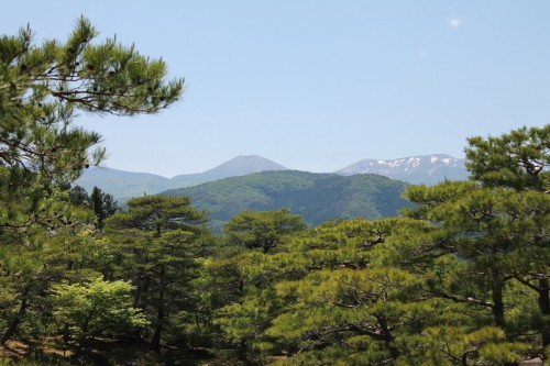 A Panoramic Mountain View from Jorakuen Japanese Garden, Fukushima, Japan.