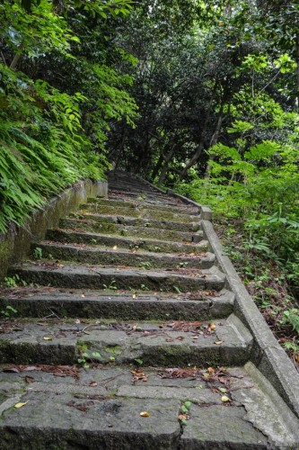 The steep stairs to reach to the top of the mountain to Hakogata Hachimangu in Gatsugi