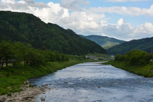 Beautiful river in Hida Furukawa, Gifu prefecture.