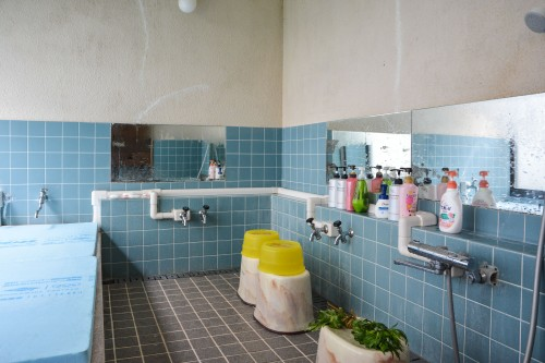 A shared bathroom of  Minshuku Takimoto on Sado island, Niigata, Japan