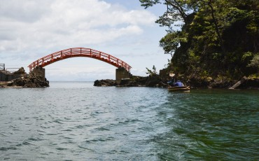 The red bridge connects between Yashima and Kyoshima to Ogi on Sado island, Niigata, Japan.