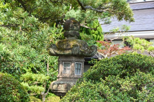 A beautiful lantern in the garden of Karatsu Onsen Ryokan Wataya, Karatsu, Saga prefecture, Kyushu.