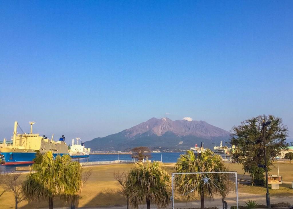 Kagoshima port overlooking Sakurajima island