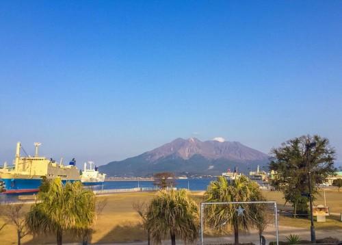 Kagoshima port overlooking Sakurajima island, Kagoshima, Kyushu, Japan.