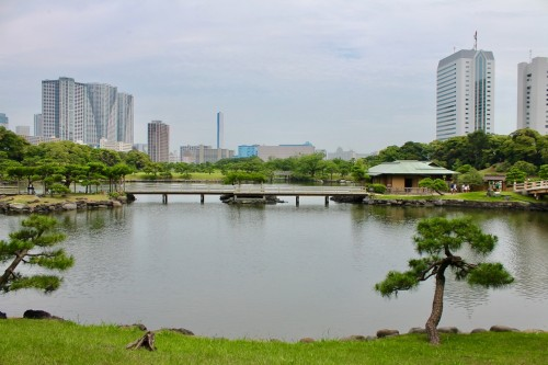 Looking Out Across the Water at Hamarikyu Japanese garden, Tokyo, Japan.