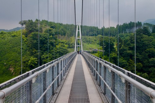 Kokonoe Yume Grand Suspension Bridge in Oita prefecture, Kyushu, Japan.