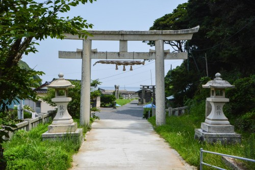 The stone torii of Tajima shrine in Karatsu area.