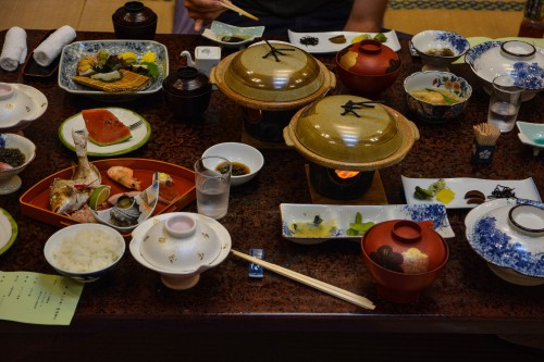 The dinner at Karatsu Onsen Ryokan Wataya, Karatsu, Saga prefecture, Kyushu.