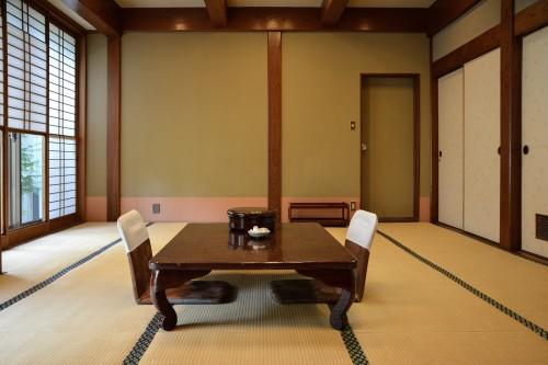Japanese traditional styled room of Karatsu Onsen Ryokan Wataya, Karatsu, Saga prefecture, Kyushu.