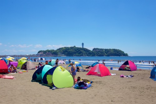 Katase beach, a famous and close beach from Tokyo, Japan.